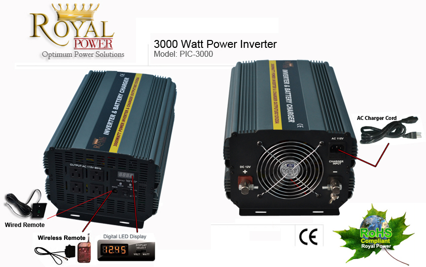 Dcac power 3000 watt dcac power inverter charger 12 volt to 110 volt 12 volt dcac power inverters wbattery charger auto transfer switch sciox Image collections